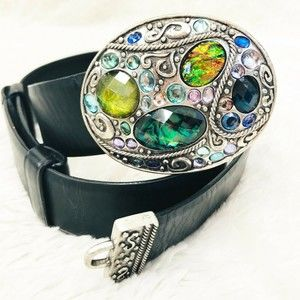 Chico's Jeweled Belt Embellished Silver Buckle